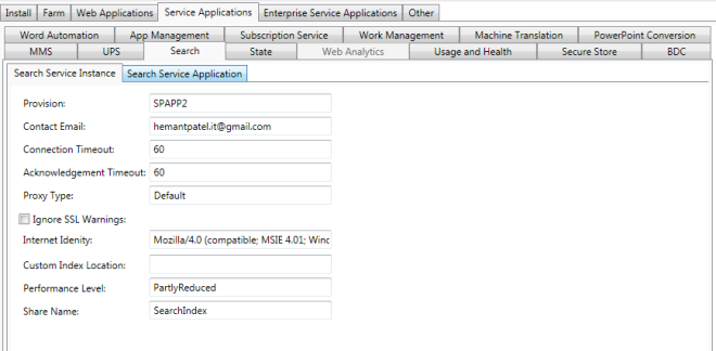 AutoSPInstaller Search Service Instance
